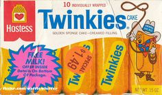 Hostess Twinkies Box - January 1985 I had posted the full scans of this box previously, but needed to post the front panel separately here for a project that I'm working on. This Hostess Twinkies box is from January 1985 with a milk promotion. Hostess Snacks, Hostess Twinkies, Vintage Menu, Vintage Candy, Vintage Stuff, Vintage Food, Retro Recipes, Vintage Recipes, Cake Cream Filling