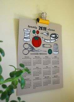 Screen Printed Calendar $22