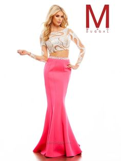 Long sleeve, crop top, two piece, beaded, trumpet style gown. Also, in blue.  85474A | Mac Duggal