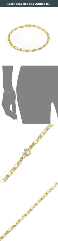 """Heart Bracelet and Anklet for Women and Girls - 10k Gold (0.14"""" wide). Beautiful hearts on hollow links join in an alternating pattern to form this splendid chain. With its posh design, this chain characterizes elegance and class. The chain is durable and will last a lifetime when properly cared for. To keep this high polished bracelet shining and scratch-free, avoid contact with chlorine and other harsh chemicals. Do not wear jewelry during rough work and be sure to store it in a..."""