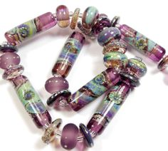 Quinlan Glass Gypsy Rouloutte Handmade Lampwork Glass Beads