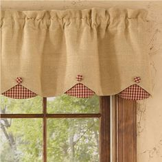 "Burlap & Check Red Lined Scallop Valance measures 58""W x 14""L. 100% cotton; lined. Dry cleaning recommended to prevent shrinkage. Coordinating window treatments are available. #window #curtains #valance"
