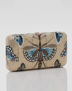 Judith Leiber Clutch Prizes | Judith Leiber Butterflycrystalled Clutch in Brown (champagne multi)