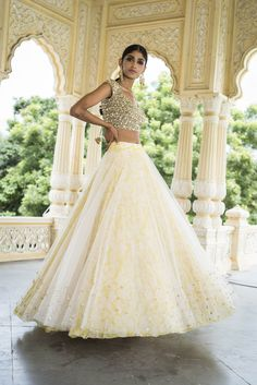 Beautiful Designer White and Yellow Color Party Wear Lehenga Choli-Bri Pink Lehenga, Bridal Lehenga Choli, Floral Lehenga, Bollywood Lehenga, Lehenga Gown, Indian Wedding Outfits, Indian Outfits, Indian Clothes, Pakistani Dresses