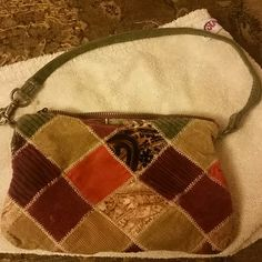 Lucky Brand wristlet/small purse patchwork Patchwork design. Beautiful. Never used. Brown, tan, green, orange, burgandy Lucky Brand Bags Clutches & Wristlets