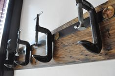 Industrial C Clamp Coat Rack by urbanwoodandsteel on Etsy, $105.00 Eclectic Wall Hooks, Wood Steel, Bad, Mudroom, Industrial Design, Industrial Furniture, Urban Industrial, Steel Furniture, Industrial Farmhouse
