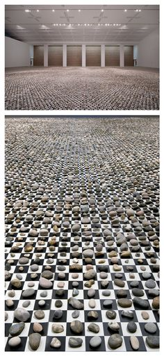 """Mark Wallinger - '10000000000000000' (part of his 'SITE' exhibition at Baltic). The piece """"catalogues and compares 65,536 stones, each occupying its own square on a gargantuan checkerboard — the simplest binary device for implying order."""""""
