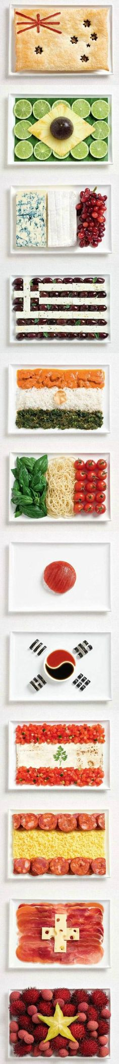 So so so cool...countries' flags made from food!