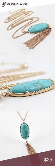 Turquoise Pendant Necklace zinc alloy, lead/nickel/allergen free faux turquoise, link chain Jewelry Necklaces