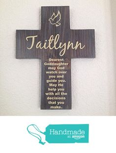 Godmother goddaughter godson gift long distance friend gift for goddaughter cross personalized with his name on pine wood w dove may god watch negle Images