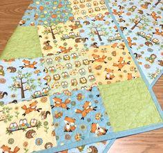 Baby Quilt Adorable Foxes and Owls Woodland Boy Girl Gender Neutral Nursery Crib…