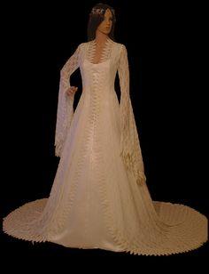 Elven Abito, Abito da sposa pizzo rinascimentale, stile vintage, elven Abito, Abito da sposa di f antasy, handfasting in pizzo, vestito medioevale,