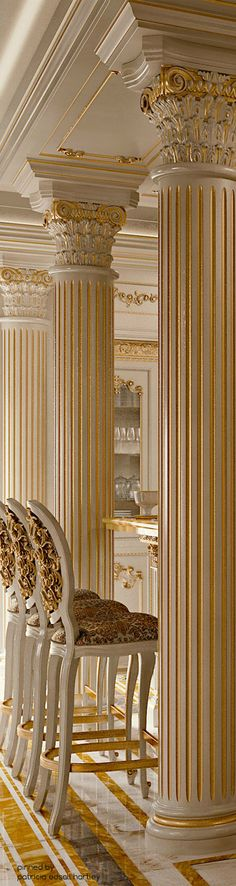 LUXURY MANSIONS...❤ ivory and gold Corinthian columns and architectural detail. Neo-classical living room. Draperies for this style home available DesignNashville.com shipping world wide. Custom designs are free using our featured fabrics.