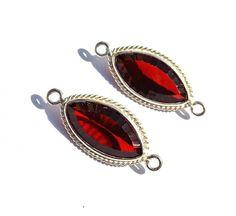 925 Silver Plated Red Garnet Quartz Concave Cut by RareGemsNJewels