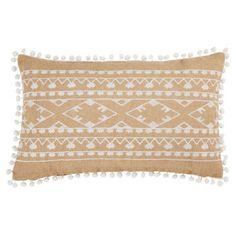 Cojín con pompones de yute con motivos blancos 30x50 cm PALOZA