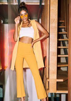 c3b9b2c852 Missyempire - Nikita Mustard High Waist Straight Leg Trousers High Waist
