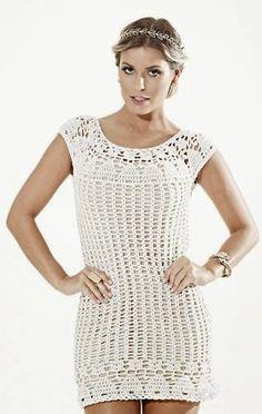 Katia Ribeiro Moda & Decoração Handmade: Vestido em crochê com gráfico e receita