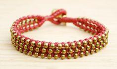 Pink Spheres Bracelet White Agate - Red Jasper Bracelet Turquoise Bracelet #jewellery #handmade #boho #hippie #fashion #summer #oriental #gemstones #powerstones #bracelet #brass