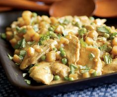 Chicken with Potatoes, Peas & Coconut-Curry Sauce - Fine Cooking Annual Cookbook/finecooking.com