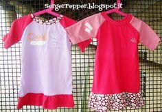 Pink refashion (FREE PATTERN) - Raglan Shirts with Skirt  #sewing #diy #freepattern SergerPepper.blogspot.it