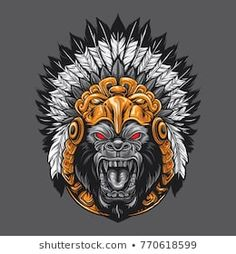 Aztec God Gorilla Artwork design Illustration by Illustration Vector, Vector Art, Aztec Headdress, Dek Hockey, Gorilla Tattoo, Mascot Design, Ad Design, Branding Design, Logo Design