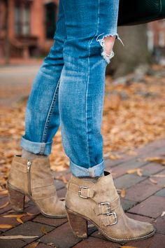 Distressed Denim and Heeled Booties