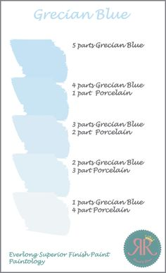 Different Shades of Everlong Superior Finish Paint Grecian Blue (mixed with Porcelain).