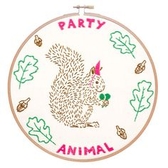 Party Animal embroidery kit by Studio MME