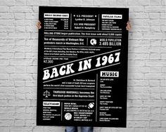 The Year 1967, DIGITAL Chalkboard Poster, Fun Facts 1967, Back in 1967, Printable Birthday Chalkboard Sign,  INSTANT DOWNLOAD