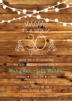 surprise 30th or any anniversary party invitation anniversary