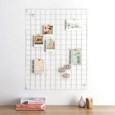 Block Wire Mesh Memo Board - White - metal memo holder