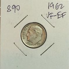1962 ROOSEVELT SILVER DIME, VF-EF, GORGEOUS, #899