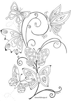 Kleurplaat voor volwassenen.Butterflies