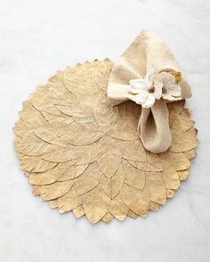 so pretty! could totally make these  Leaf+Placemat,+Tapestry+Napkin,+&+Dogwood+Napkin+Ring+by+Deborah+Rhodes+at+Horchow.