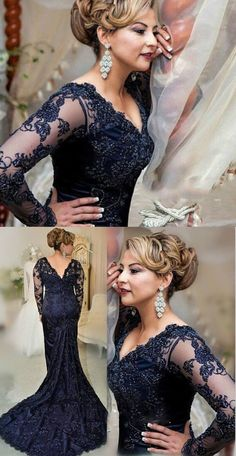 Custom Made Sexy Long Mermaid Lace Prom Dresses Vintage Navy Blue Lace  Evening Dress. Mother Of ... 16897ef13383