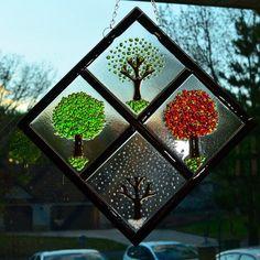 Four Season Diamond on Clear Glass - Fused Glass Art by JeanineHuot on Etsy https://www.etsy.com/listing/129972522/four-season-diamond-on-clear-glass-fused