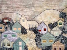 """Art quilt """"Misty Town"""""""