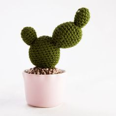 Crochet Paddle Cactus in Pink Pot by knotanother on Etsy