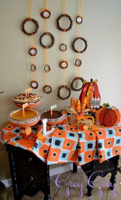 Autumn-themed pie table display #wedding #rustic #pie #dessert #desserttable