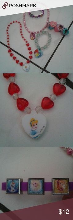 All Disney jewelry with several princesses 2 nice necklaces 1with cinderella 1with beauty from beauty and the beast, and 2 bracelets 1 princess Ariel, and a Frozen bracelet with three of the characters on it. Good quality. Girls will love it! Disney Accessories Jewelry