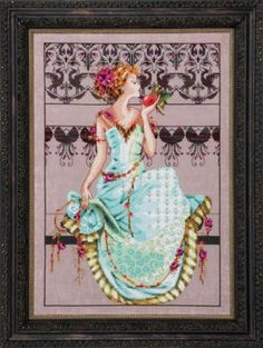 Mirabilia Persephone - Cross Stitch Pattern. Model stitched on 32 Ct. Pink Sandy linen with DMC floss, Caron Waterlilies, and Mill Hill Beads/Treasures. Stitch