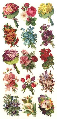 Spring bouquet stickers for Easter card making and scrapbooking