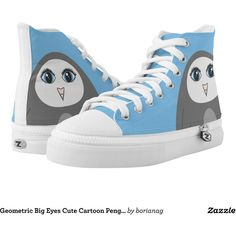 Geometric Big Eyes Cute Cartoon Penguin Printed Shoes ($77) ❤ liked on Polyvore featuring shoes, comic shoes, geometric shoes and comic book