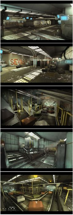 Discover this amazing and huge collection of Concept Art from Alien Isolation made by Bradley Wright. Cyberpunk, Environment Concept Art, Environment Design, Game Design, Alien Isolation, Spaceship Interior, Fantasy Landscape, Environmental Art, Sci Fi Fantasy