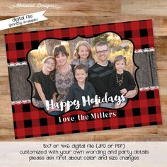 Christmas card printable wood rustic chic merry christmas new years holiday buffalo plaid lace any wording colors shabby chic (item 822)