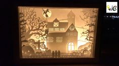 Papercut Light Box / Halloween Theme Shadow Box/ Halloween Crafts / Home Decor / Handmade Gifts Shadow Light Box, Diy Shadow Box, Shadow Box Frames, 3d Paper Art, Paper Crafts, 3d Paper Projects, 3d Cuts, Cut Out Art, Paper Light