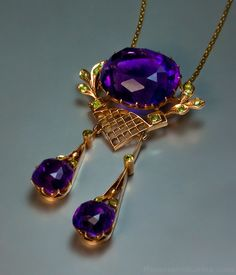 An Impressive Antique Siberian Amethyst, Demantoid Garnet and Rose Gold Pendant/Necklace, Made in Moscow Between 1908 and 1917.