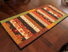 Strippy Fall Autumn Table Runner Quilt by QuiltSewPieceful on Etsy