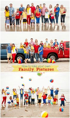 How to Take your own Family Pictures - photography tips & ideas with… Large Family Photos, Beach Family Photos, Beach Pictures, Family Pics, Big Family, Beach Photography, Family Photography, Photography Tips, Toddler Photography