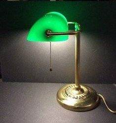Bankers Lamp Brass Base and Pole Green Glass Shade Pull Chain Excellent Condition by KeukaCollectibles on Etsy